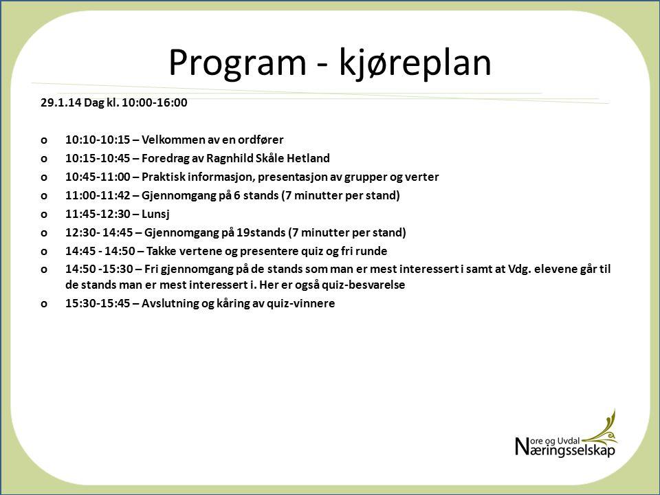 Program - kjøreplan