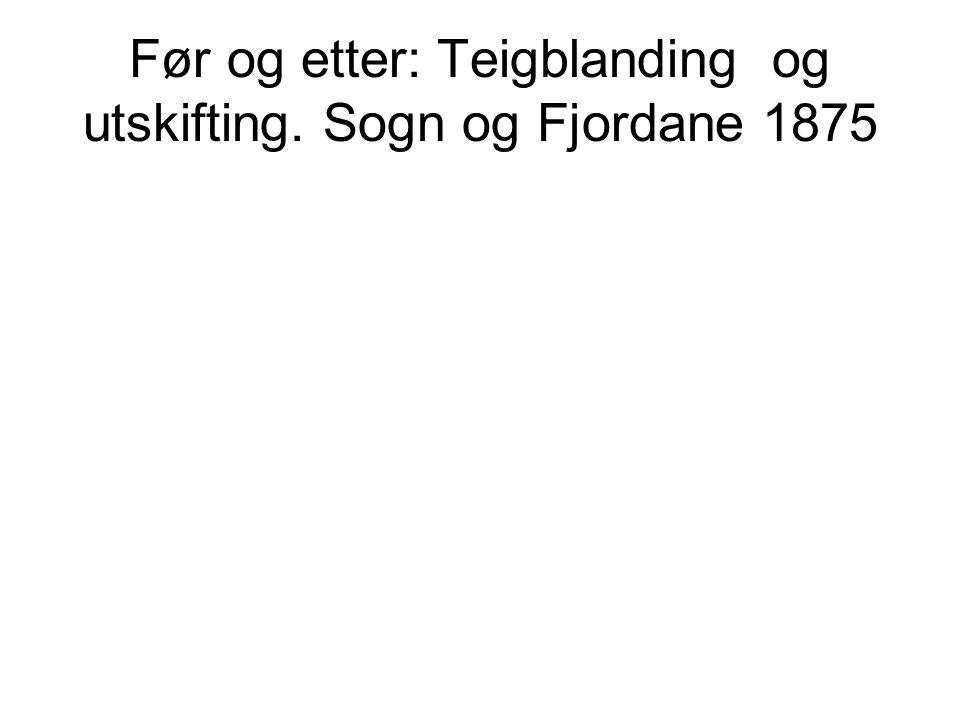 Før og etter: Teigblanding og utskifting. Sogn og Fjordane 1875