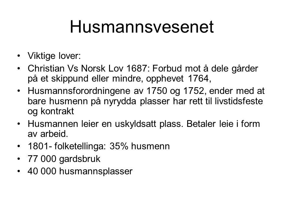 Husmannsvesenet Viktige lover:
