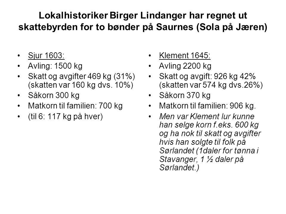 Lokalhistoriker Birger Lindanger har regnet ut skattebyrden for to bønder på Saurnes (Sola på Jæren)
