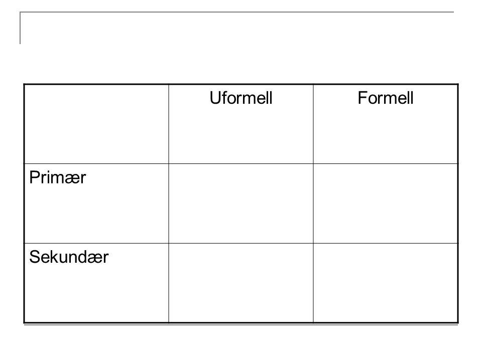 Uformell Formell Primær Sekundær