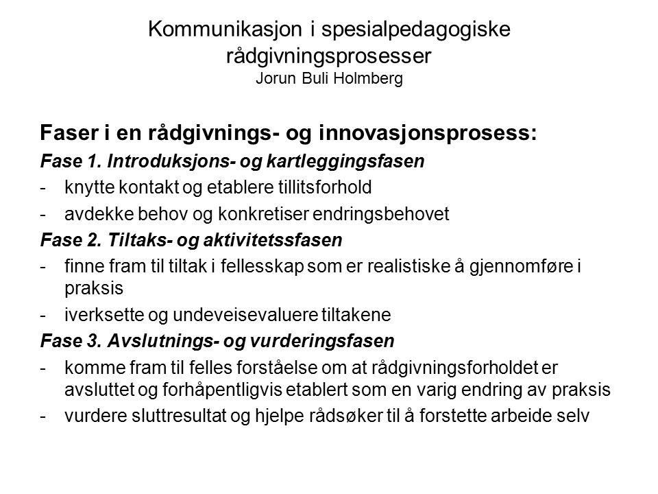 Faser i en rådgivnings- og innovasjonsprosess: