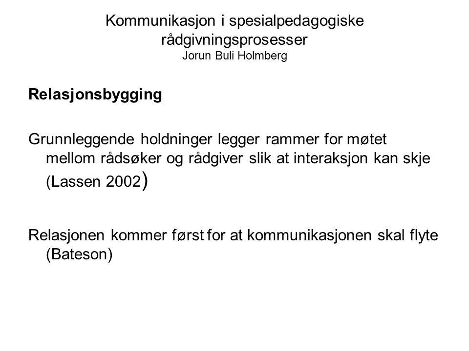 Kommunikasjon i spesialpedagogiske rådgivningsprosesser Jorun Buli Holmberg