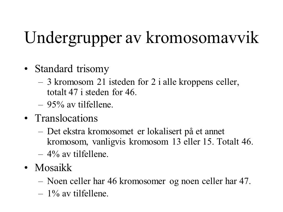 Undergrupper av kromosomavvik