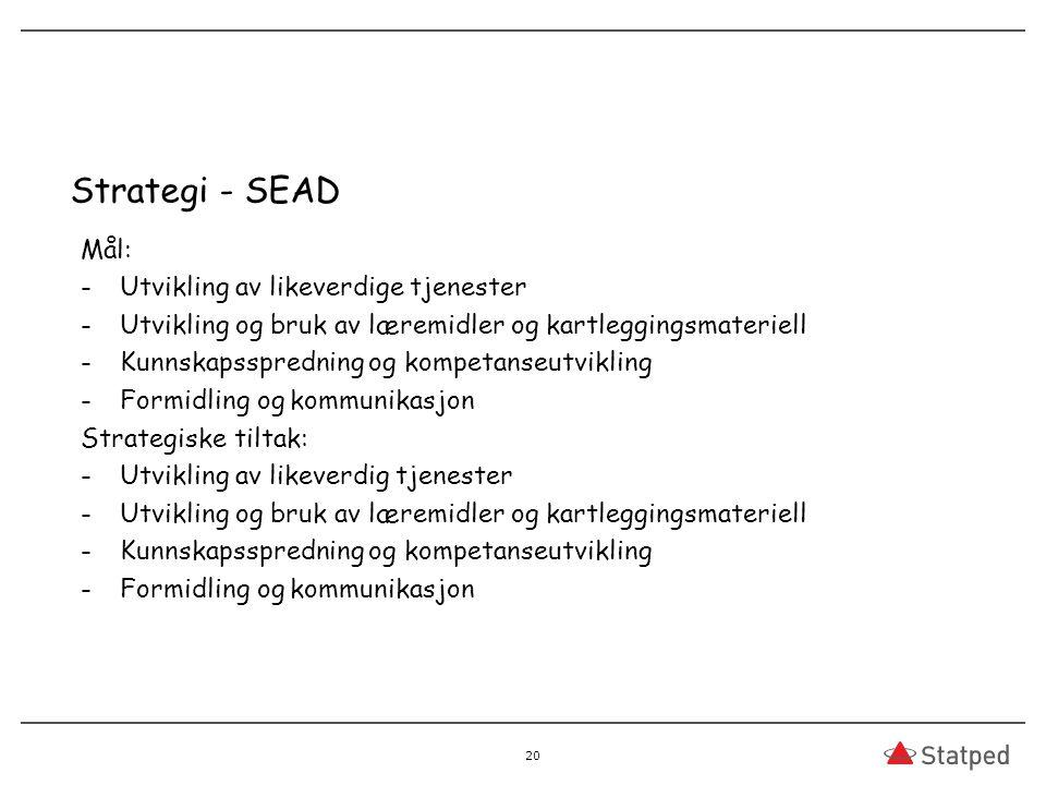 Strategi - SEAD Mål: Utvikling av likeverdige tjenester
