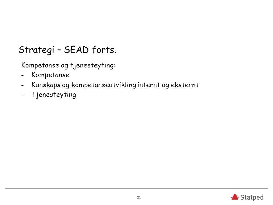Strategi – SEAD forts. Kompetanse og tjenesteyting: Kompetanse