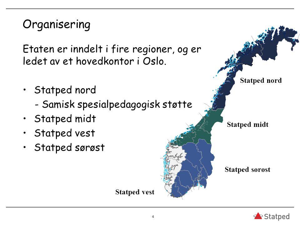 Organisering Statped vest. Etaten er inndelt i fire regioner, og er ledet av et hovedkontor i Oslo.