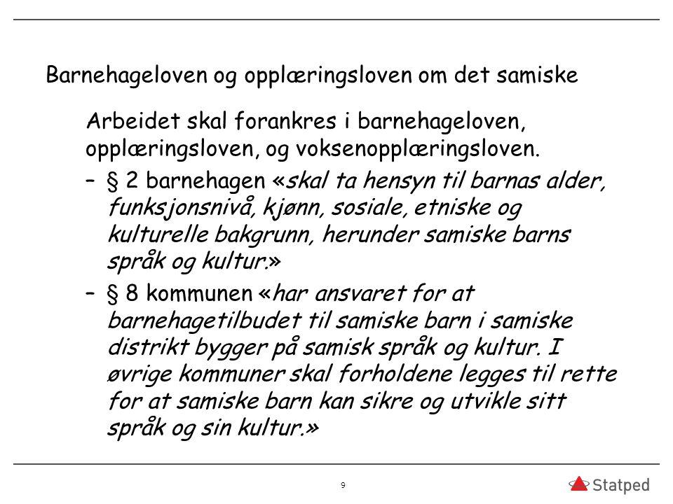 Barnehageloven og opplæringsloven om det samiske