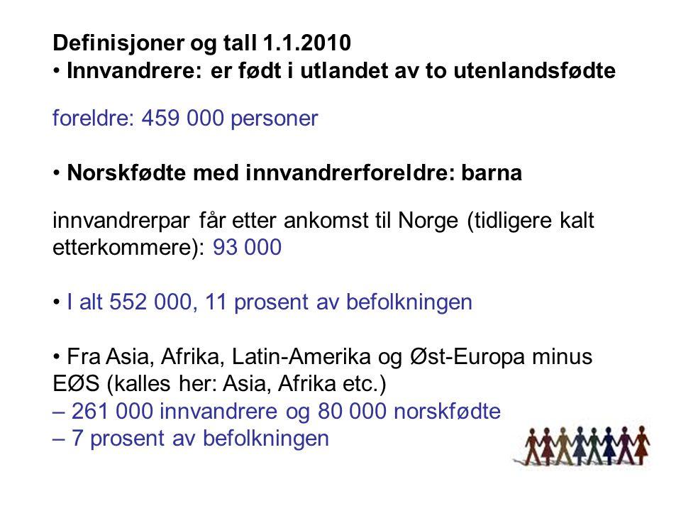 Definisjoner og tall 1.1.2010 • Innvandrere: er født i utlandet av to utenlandsfødte. foreldre: 459 000 personer.