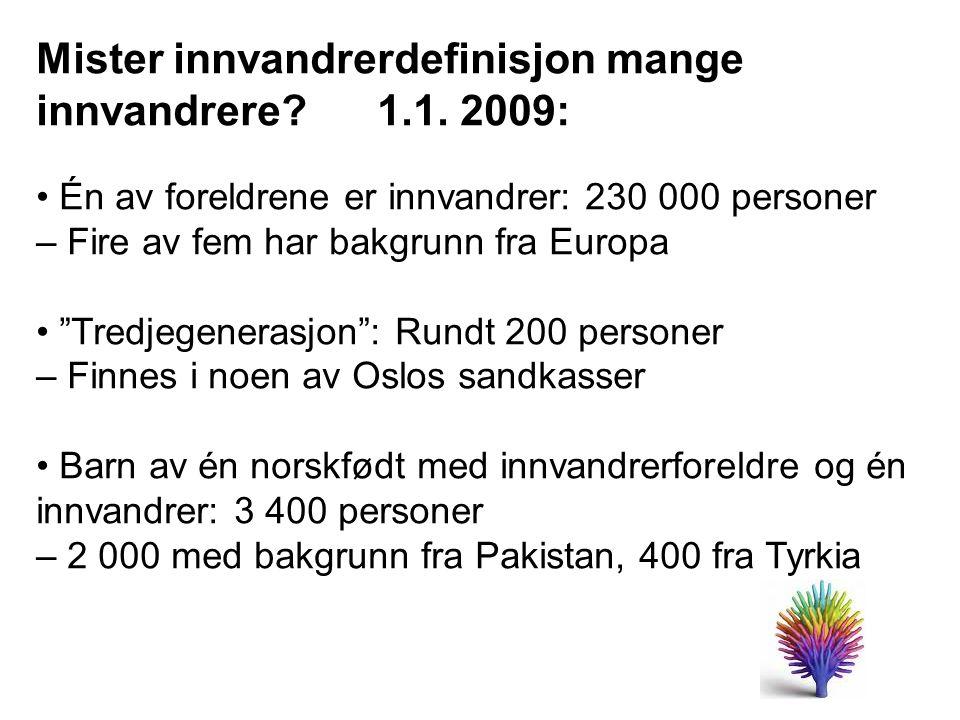 Mister innvandrerdefinisjon mange innvandrere 1.1. 2009: