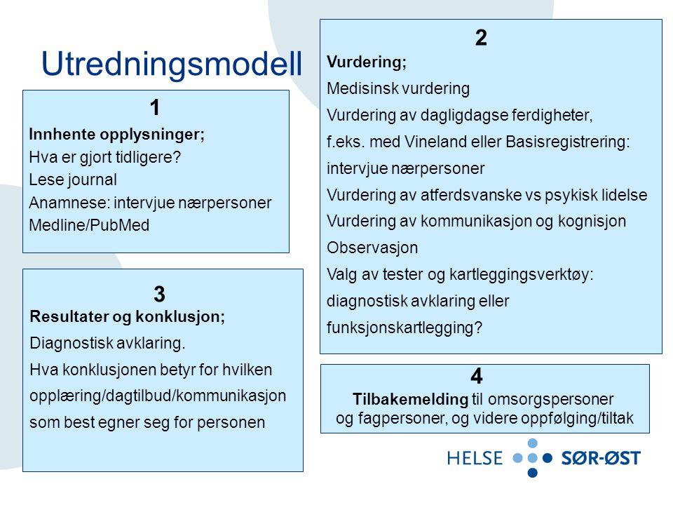 Utredningsmodell 2 1 3 4 Vurdering; Medisinsk vurdering