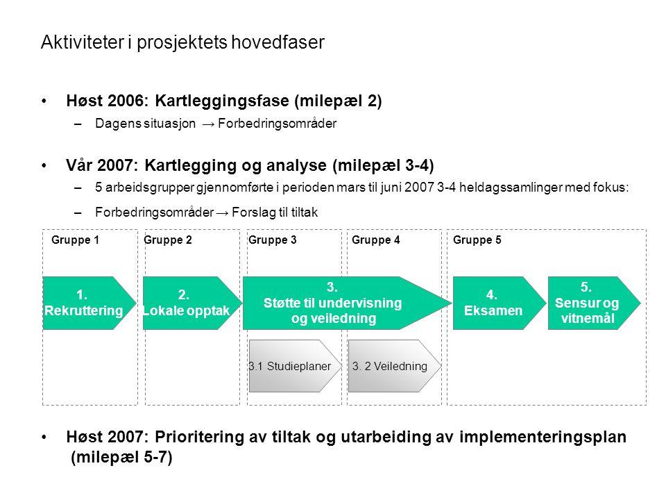 Aktiviteter i prosjektets hovedfaser
