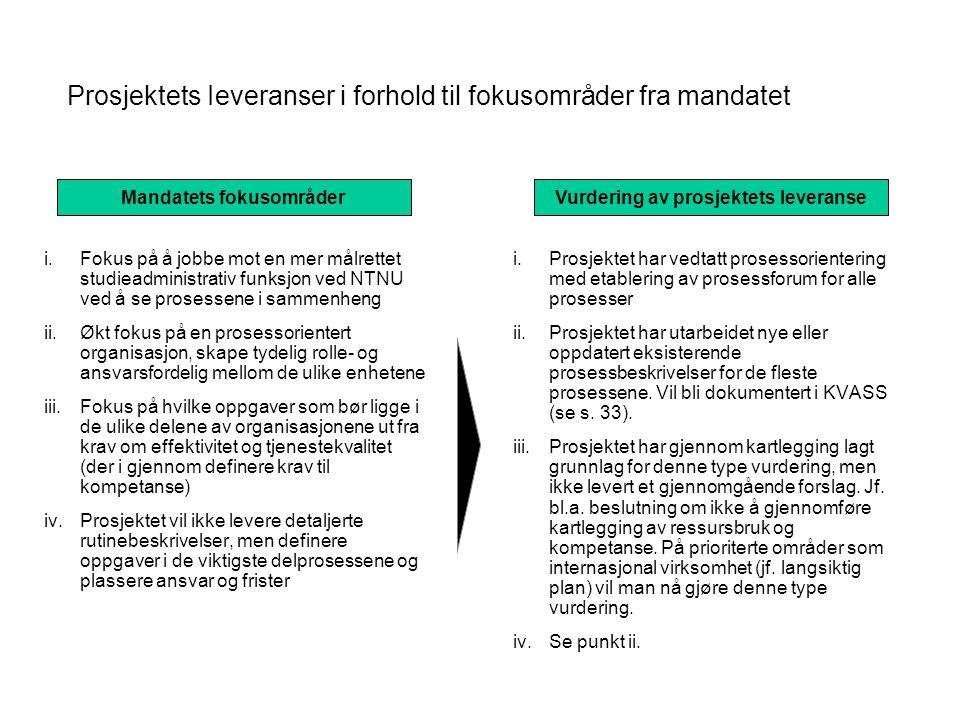 Prosjektets Ieveranser i forhold til fokusområder fra mandatet