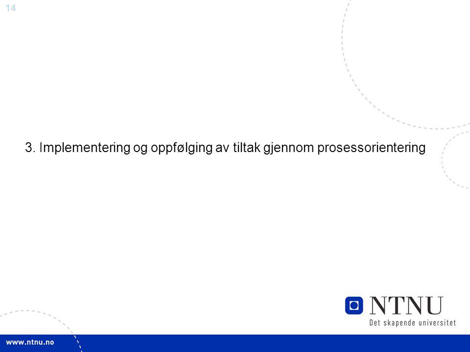 3. Implementering og oppfølging av tiltak gjennom prosessorientering