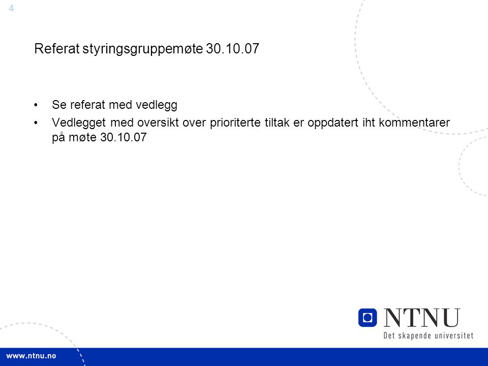 Referat styringsgruppemøte 30.10.07