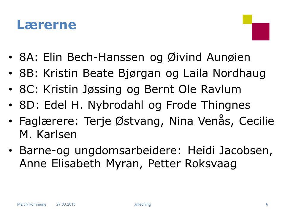 Lærerne 8A: Elin Bech-Hanssen og Øivind Aunøien