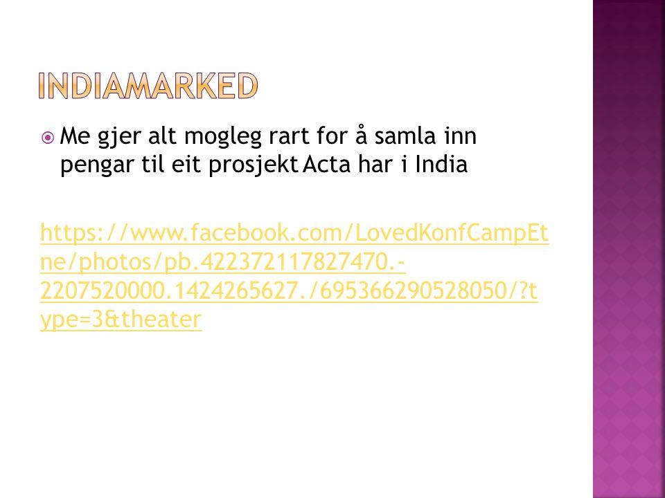 Indiamarked Me gjer alt mogleg rart for å samla inn pengar til eit prosjekt Acta har i India.