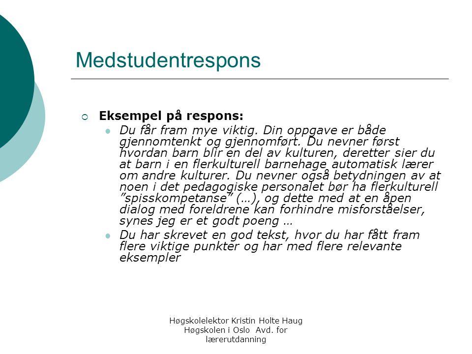 Medstudentrespons Eksempel på respons: