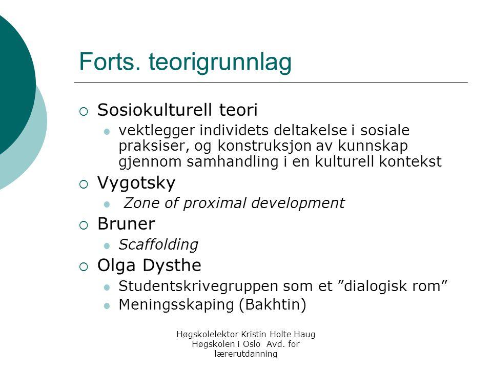 Forts. teorigrunnlag Sosiokulturell teori Vygotsky Bruner Olga Dysthe