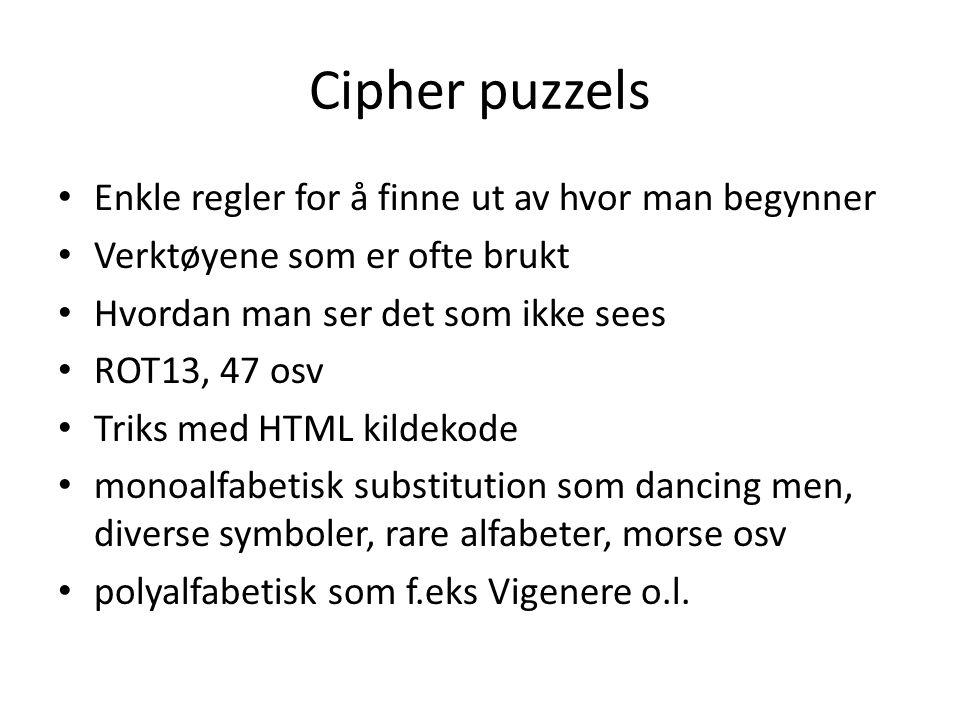 Cipher puzzels Enkle regler for å finne ut av hvor man begynner