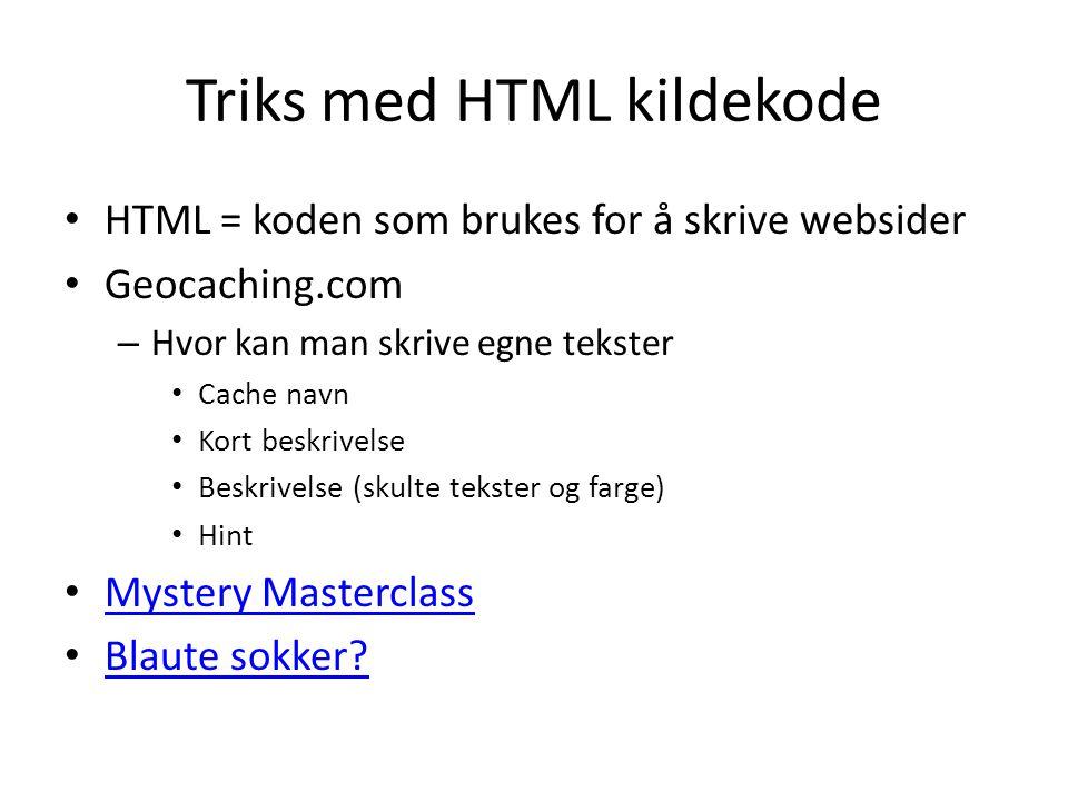 Triks med HTML kildekode