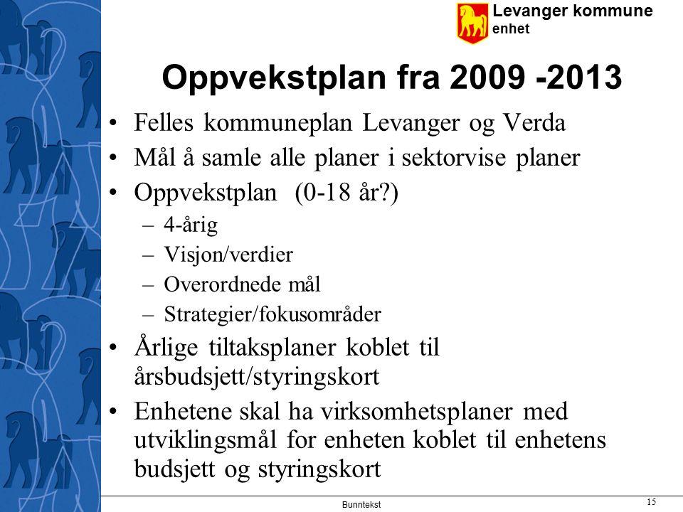 Oppvekstplan fra 2009 -2013 Felles kommuneplan Levanger og Verda