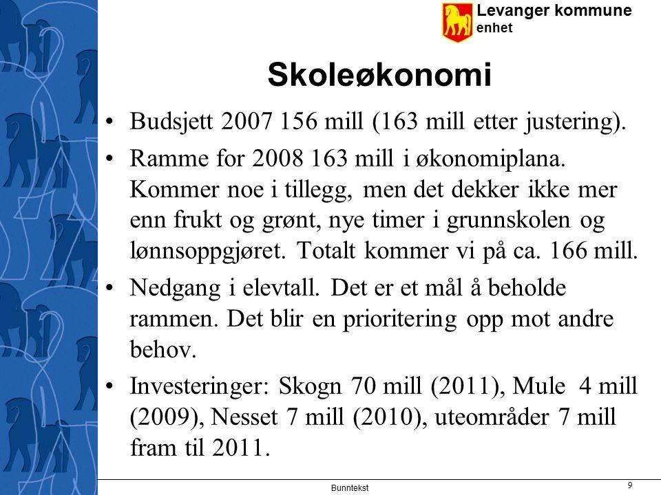 Skoleøkonomi Budsjett 2007 156 mill (163 mill etter justering).
