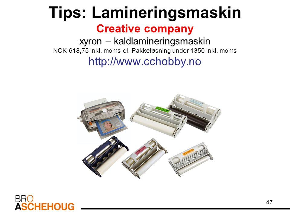 Tips: Lamineringsmaskin Creative company xyron – kaldlamineringsmaskin NOK 618,75 inkl.