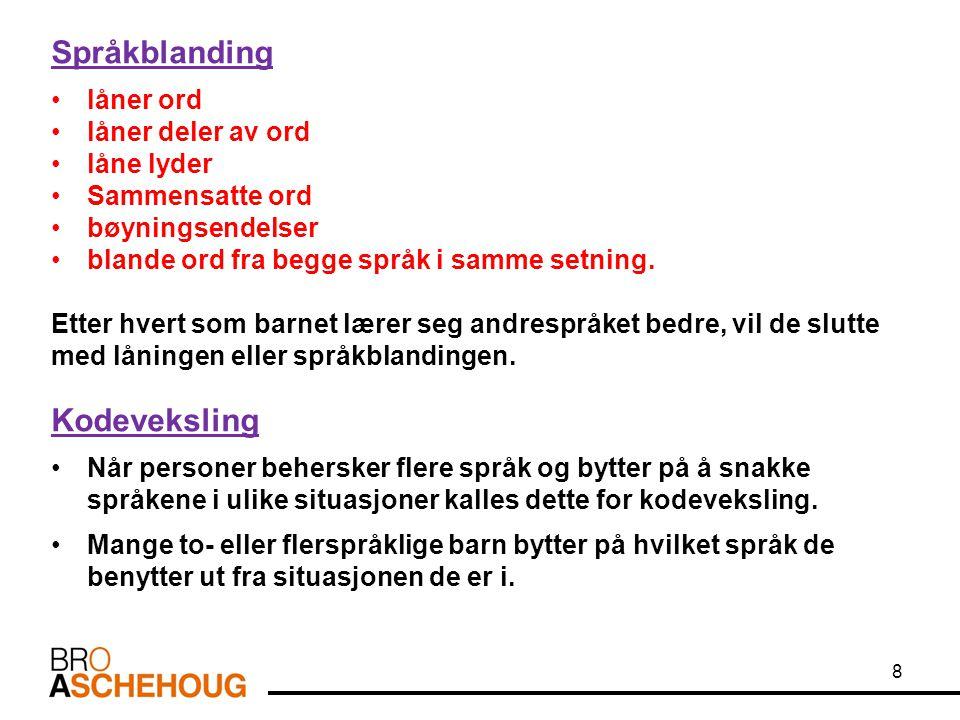 Språkblanding Kodeveksling låner ord låner deler av ord låne lyder