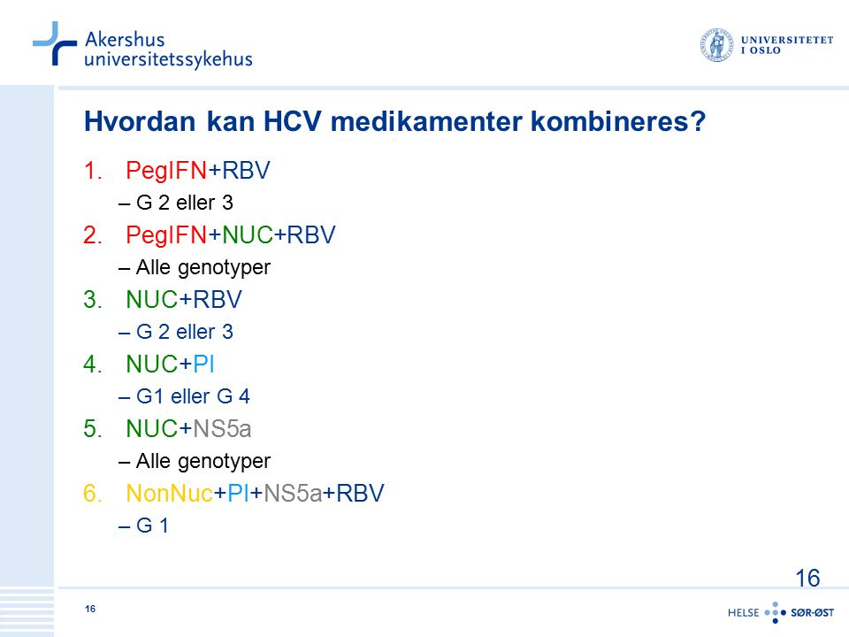 Hvordan kan HCV medikamenter kombineres