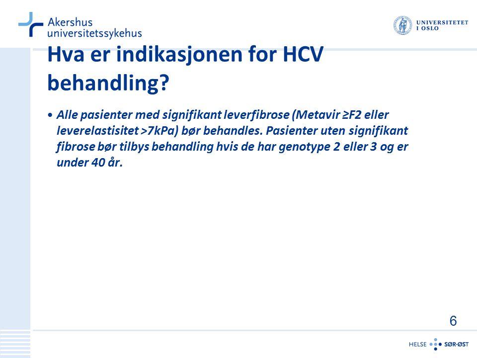 Hva er indikasjonen for HCV behandling