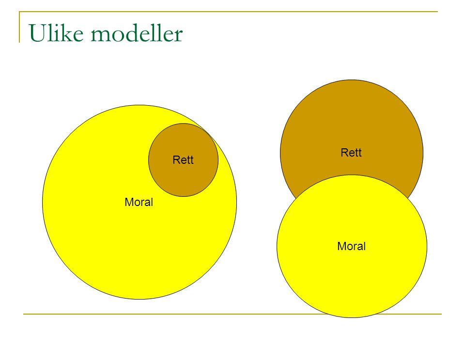 Ulike modeller Rett Moral Rett Moral