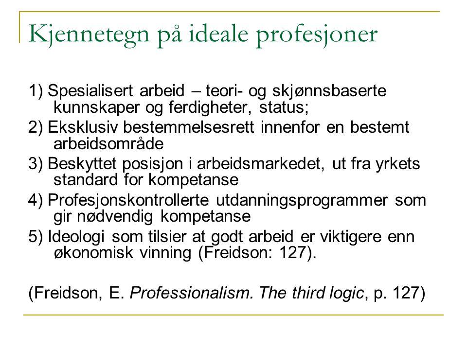 Kjennetegn på ideale profesjoner