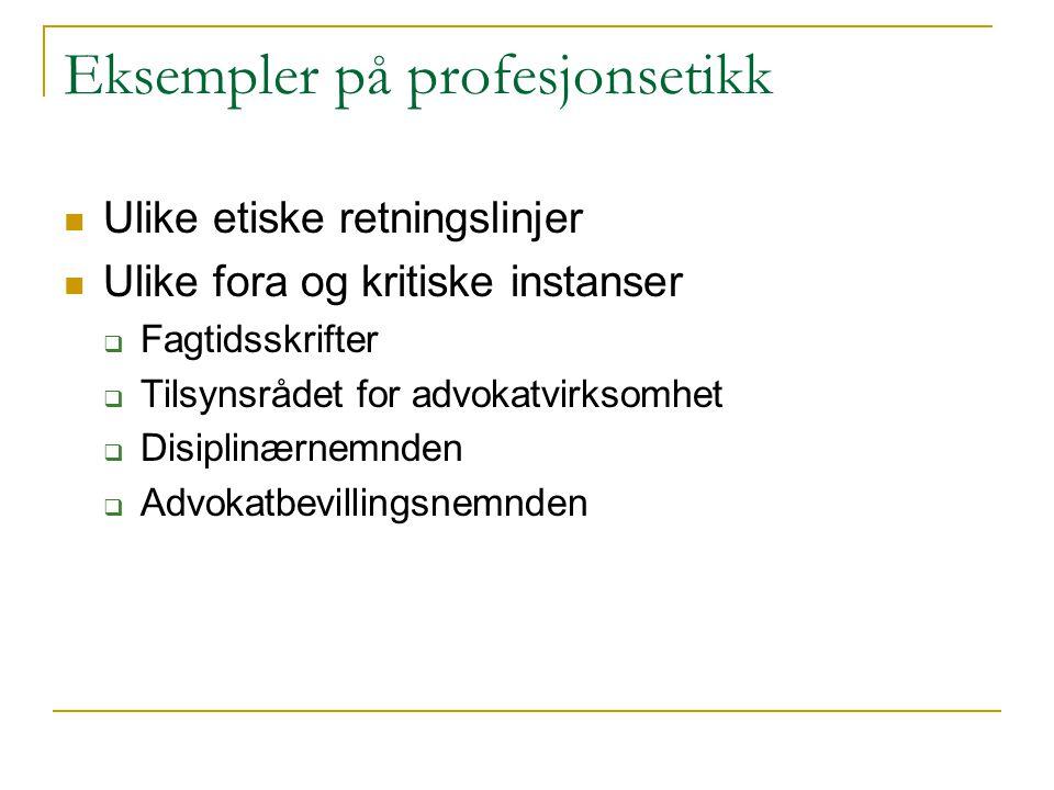 Eksempler på profesjonsetikk
