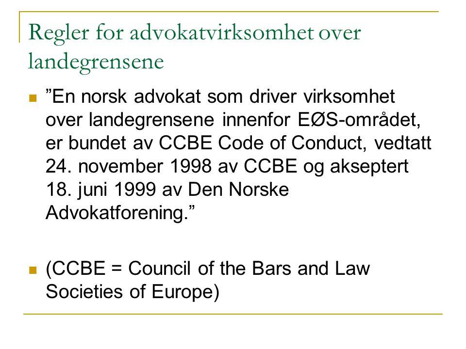 Regler for advokatvirksomhet over landegrensene