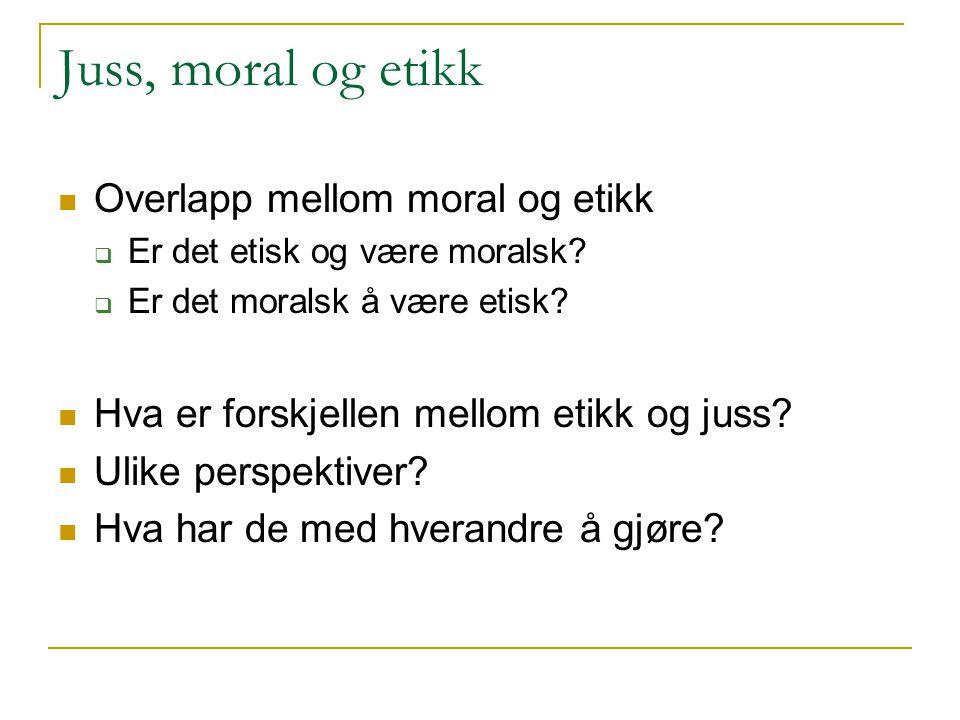 Juss, moral og etikk Overlapp mellom moral og etikk
