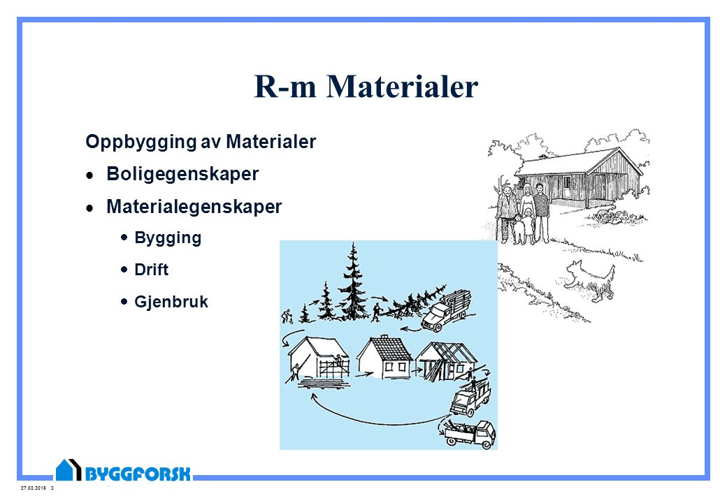 R-m Materialer Oppbygging av Materialer Boligegenskaper