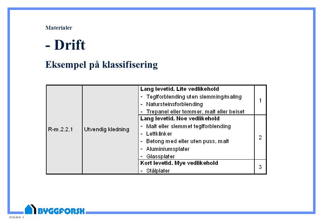 Materialer - Drift Eksempel på klassifisering