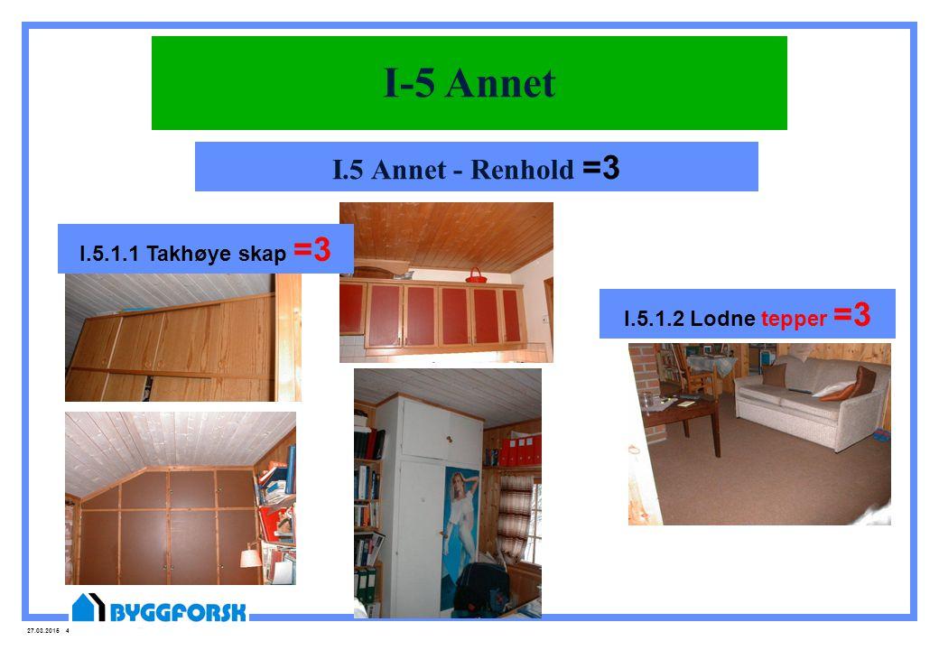 I-5 Annet I.5 Annet - Renhold =3 I.5.1.1 Takhøye skap =3