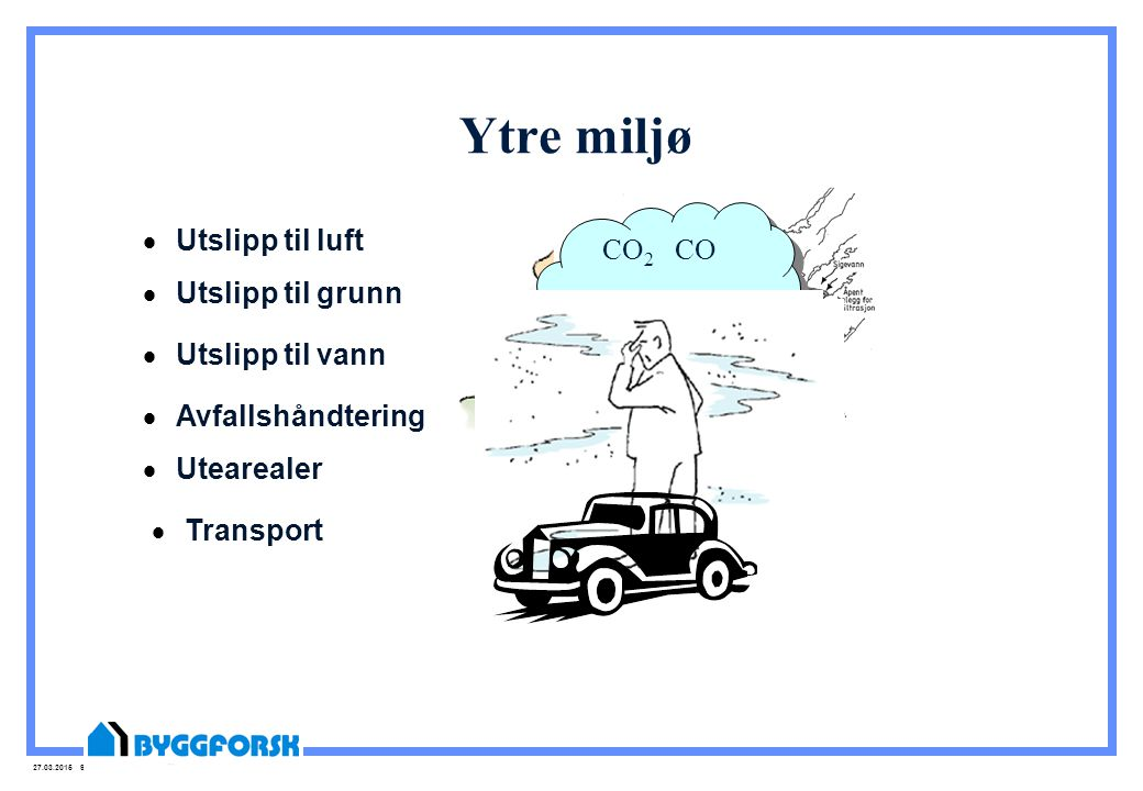 Ytre miljø CO2 CO Utslipp til luft NOX SO2 Utslipp til grunn