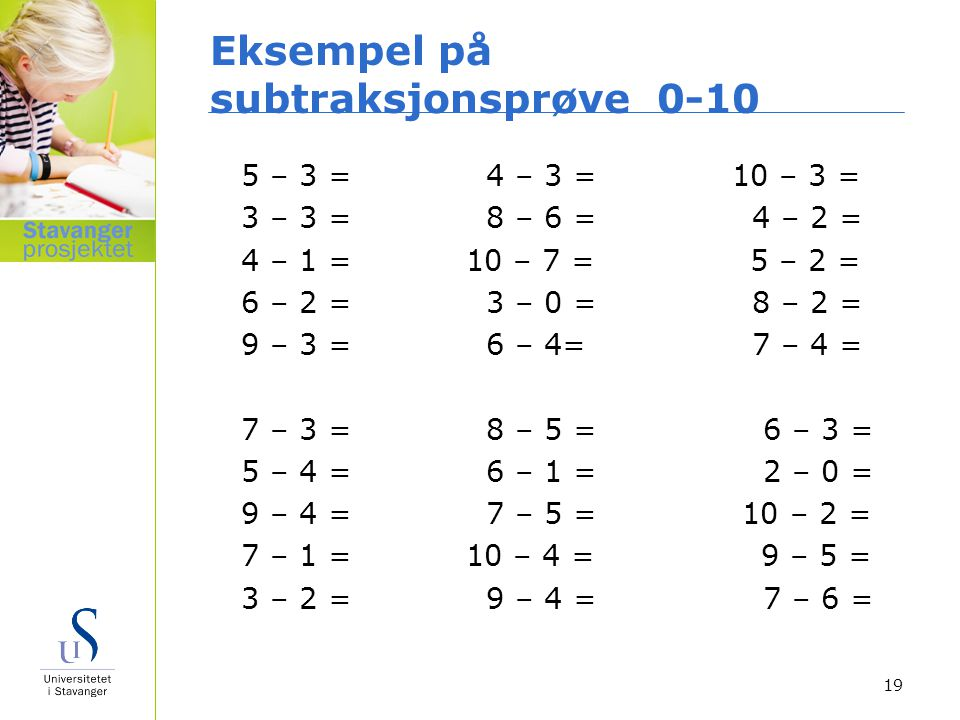 Eksempel på subtraksjonsprøve 0-10