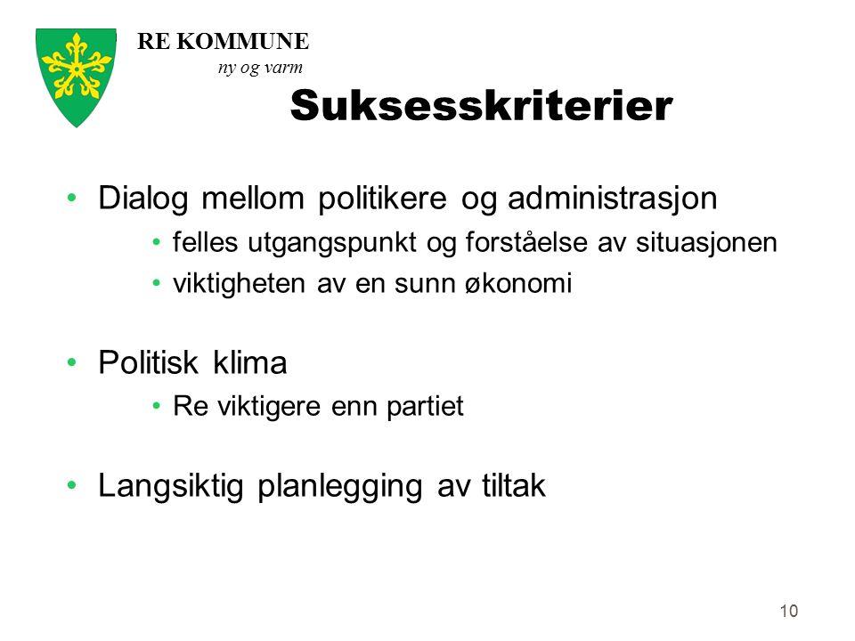 Suksesskriterier Dialog mellom politikere og administrasjon