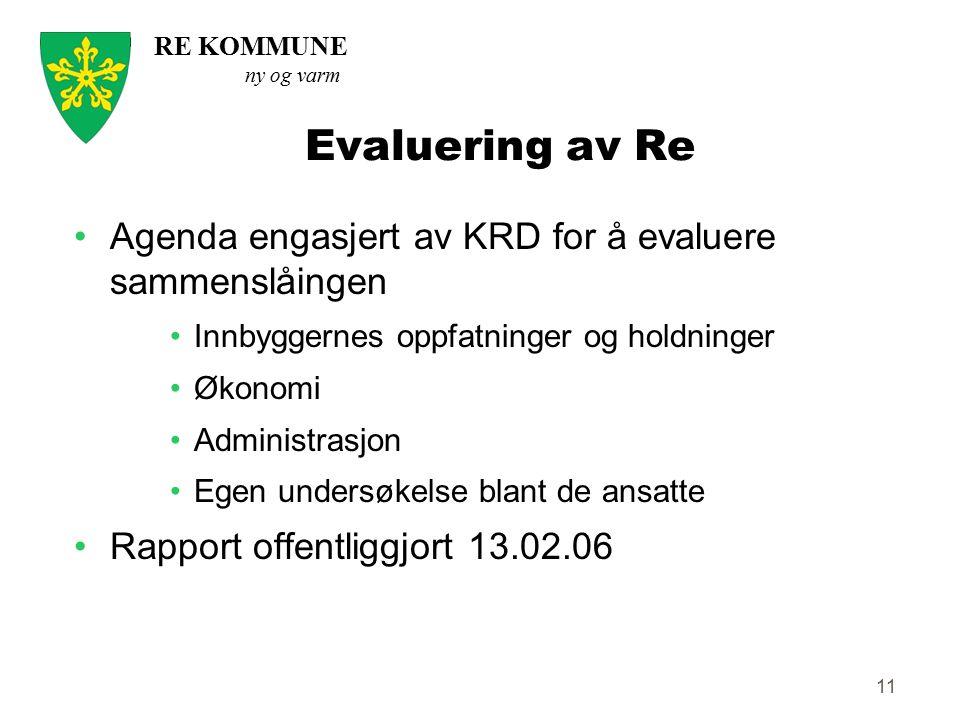Evaluering av Re Agenda engasjert av KRD for å evaluere sammenslåingen