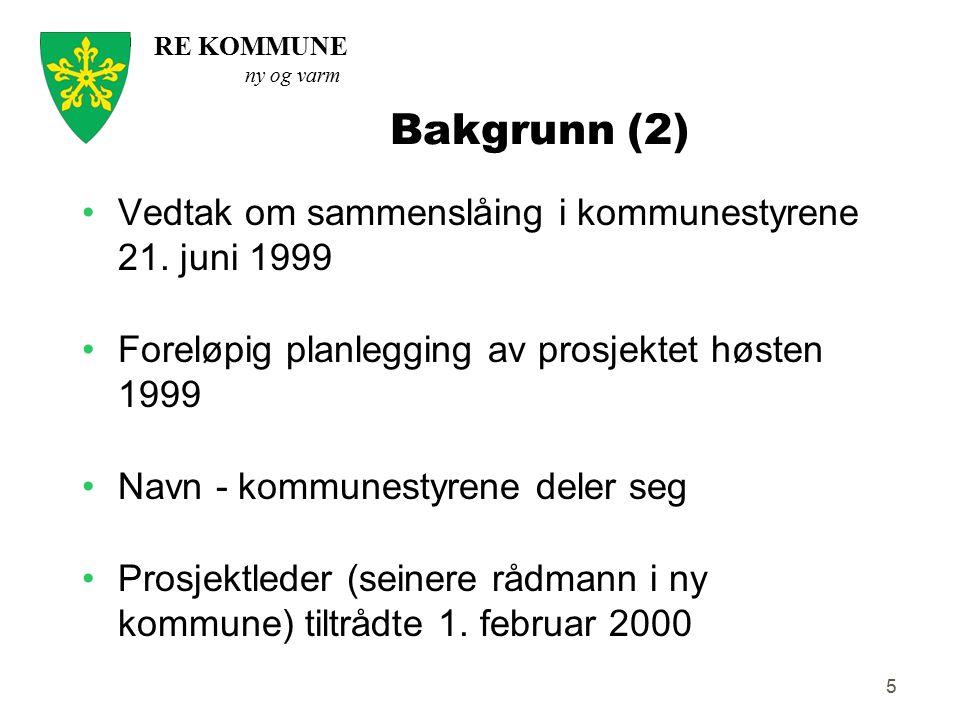Bakgrunn (2) Vedtak om sammenslåing i kommunestyrene 21. juni 1999