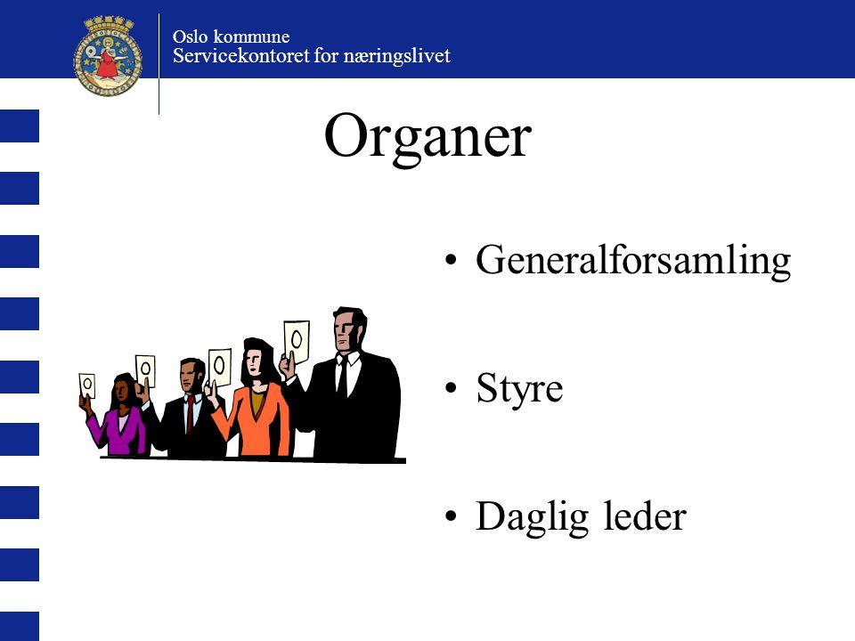 Organer Generalforsamling Styre Daglig leder