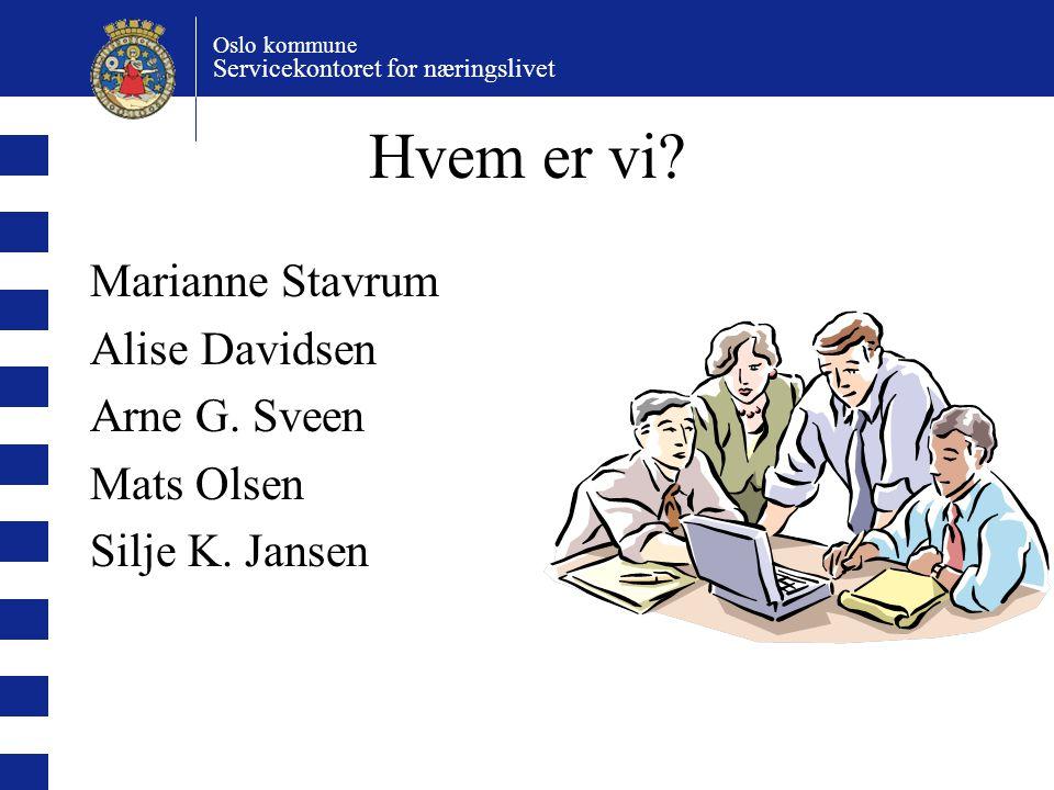 Hvem er vi Marianne Stavrum Alise Davidsen Arne G. Sveen Mats Olsen
