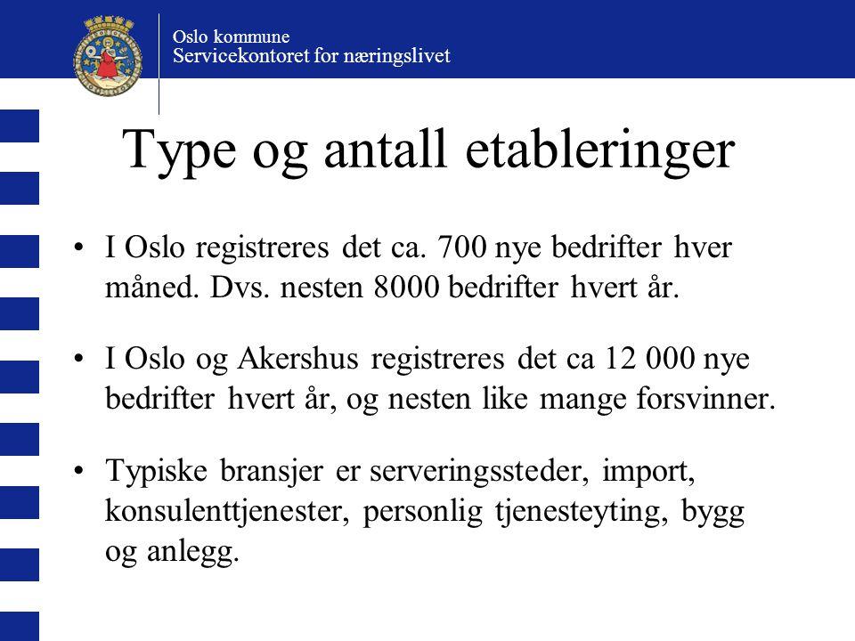 Type og antall etableringer