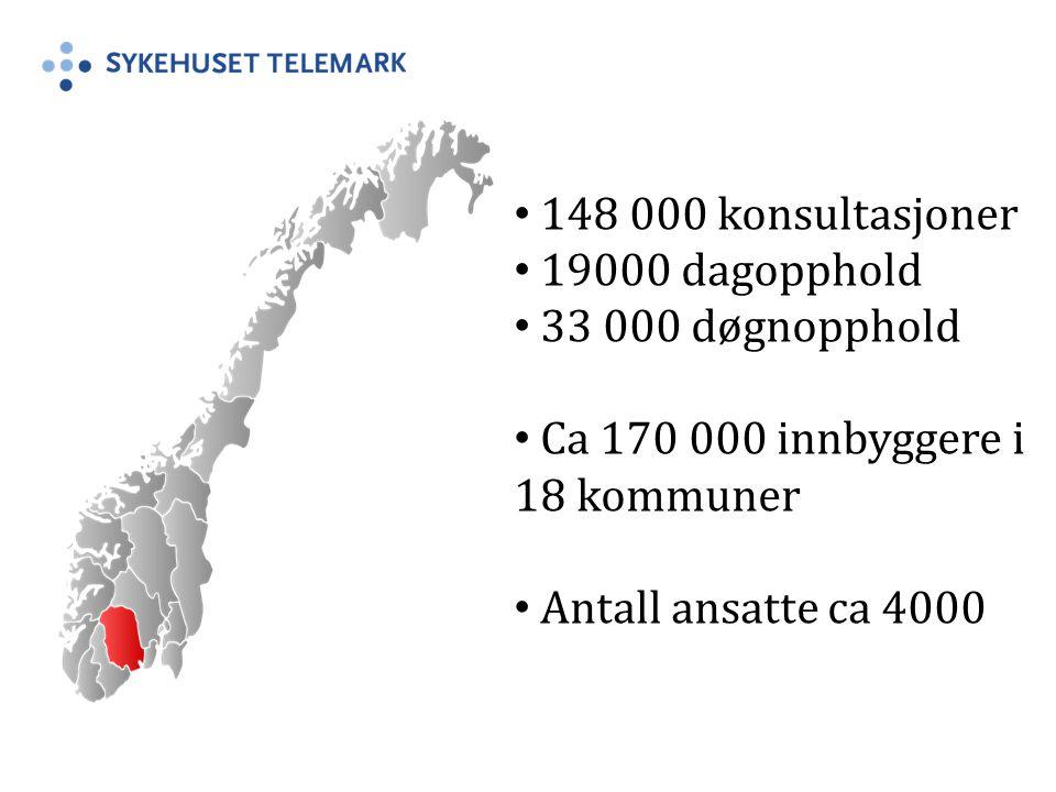 148 000 konsultasjoner 19000 dagopphold. 33 000 døgnopphold. Ca 170 000 innbyggere i 18 kommuner.
