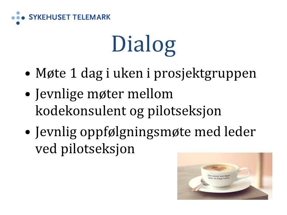Dialog Møte 1 dag i uken i prosjektgruppen