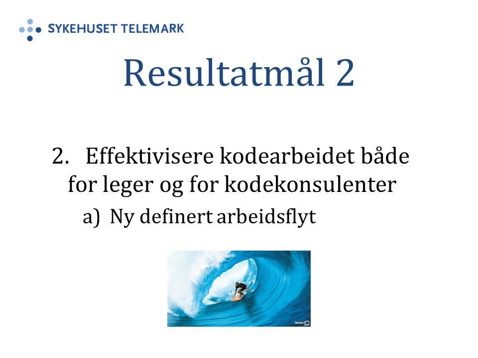 Resultatmål 2 2. Effektivisere kodearbeidet både for leger og for kodekonsulenter.